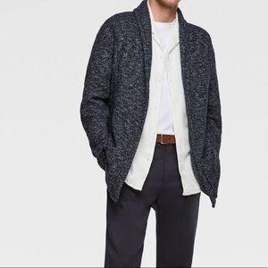 Zara Men's navy shawl cardigan